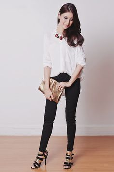 Topshop Top, Levi's® Pants, Sm Accessories Necklace, The Sm Store Clutch, Blackfive Heels