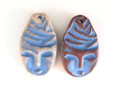 Female Portrait Beads - blue set beads for earrings, antique style, ceramic face beads, ethnic, earthy, terracotta beads, boho jewelry diy