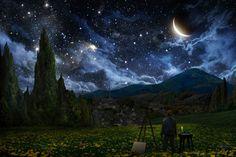 http://snapzu.com/Splitfish/starry-night-in-van-goghs-perspective