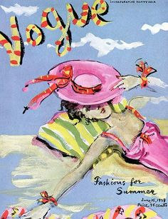 An American Vogue cover illustrated by Christian Berard, 1939.