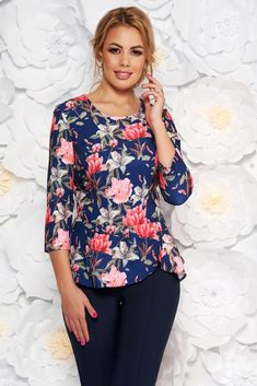 StarShinerS blue elegant short cut women`s blouse frilled from non elastic fabric with floral prints, floral prints, 3/4 sleeves, thin fabric, non elastic fabric, frilled waist