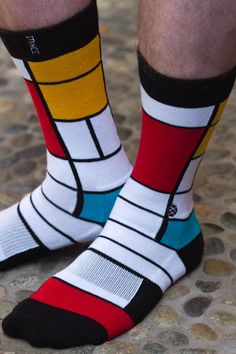 I have been SO excited for these to go live! Inspired by Piet Mondrian, these color blocked socks are works of art!