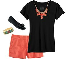 Coral and black. I will wear longer shorts but love the colors