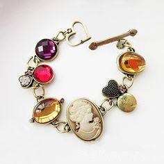 $4.99 Vintage Multicolor Gems Portrait Toggle Bracelet,Vintage Bracelet,Antique,Multicolor Bracelet,Gems Bracelet,Women Fahshion,2013 Fashion,Cheap Jewelry,New Bracelet,Gofavor.