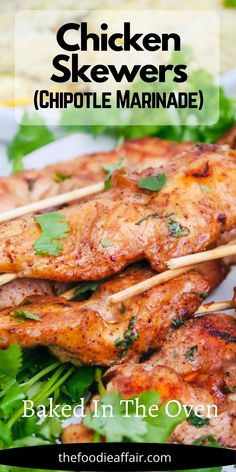 Tender and flavorful chipotle chicken skewers baked in the oven. Enjoy as a main dish, appetizer or a quick meal prep recipe for pack-n-go lunches. #ChickenDinner #Chicken #Skewers #EasyRecipe #Chipotle #LowCarb