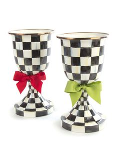 Courtly Check Pedestal Vases by MacKenzie-Childs at Horchow.