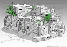 ArtStation - Russian research station, Max Huusko Futuristic Design, Futuristic Architecture, Architecture Design, Cyberpunk, Sci Fi Games, Post Apocalyptic Art, Wargaming Terrain, City Buildings, Small Buildings