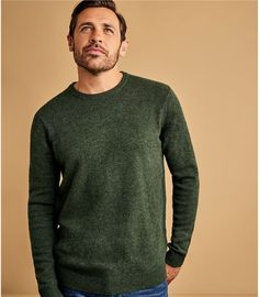 Tweed Green | Mens Lambswool Crew Neck Jumper | WoolOvers UK