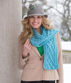 Cable Your Scarf ~ Knit in a pretty color this cable pattern is perfect for women but, in a more masculine shade, men will appreciate its warmth.