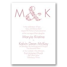 Floral Ampersand - Invitation simple but elegant Invitations by Dawn $116/96