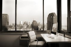 Matt Bango's stunning office overlooking Manhattan.