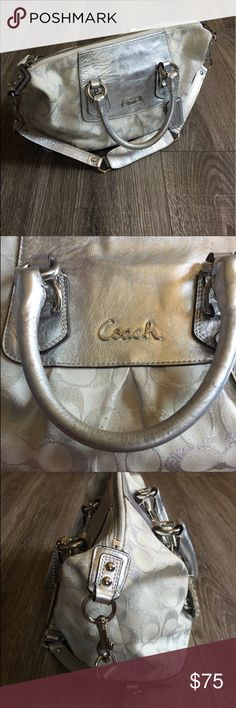 Coach Satchel Handbag Bag Silver White Ashley Please see last photo for measurements and description. Bag has some wear on corners and handle it was carried. Coach Bags Satchels