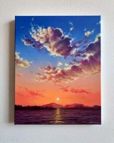 Canvas Painting Tutorials, Acrylic Painting Inspiration, Acrylic Painting Lessons, Small Canvas Art, Diy Canvas Art, Art Drawings Sketches Simple, Painting Clouds, Pink Clouds, Artsy