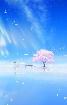 """Shigatsu Wa Kimi No Uso  """"¿Pude vivir en tu corazón?  Entraste como si fuera tu casa ¿Me recordarás... aunque sea solo un poco?  Si te olvidara... seguro que vuelves como un fantasma No pulses el botón de reinicio No lo haré No me olvides No  Es una promesa Si"""""""
