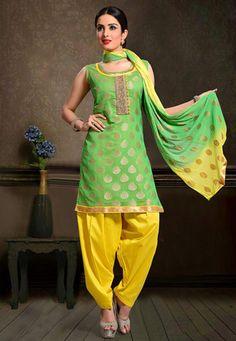 Embroidered Art Chanderi Silk Jacquard Punjabi Suit in Green