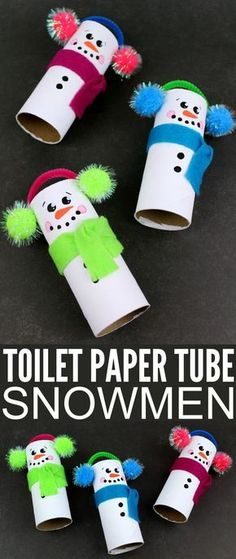 These Recycled Toilet Paper Tube Snowmen are perfect for displaying this holiday season and would make awesome keepsake gifts. They are a fun winter kids craft too, let them get creative and see what they come up with! #christmascraftsforkids