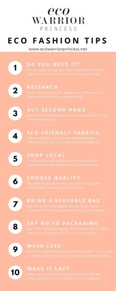 Eco Fashion Shopping Tips - Eco Warrior Princess infographic