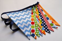 Primary colored fabric pennant banner bunting  by GiddyGumdrops, $28.00