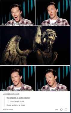 Blunk and you're dead. Weeping angels should go to Doctor Who and Benedict should go to Sherlock? Doctor Who, Detective, Ace Attorney, Fandom Crossover, Amanda Abbington, Dc Memes, Funny Memes, Don't Blink, Film Serie