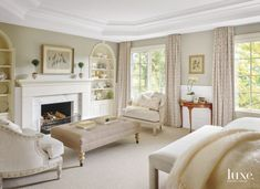 Marble Fireplace in the Master Bedroom Suite