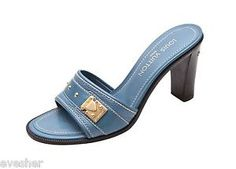Louis Vuitton Blue Suhali Leather Sandal Slide Open Toe Mule Brown Heel Gold 39  Shop: ebay.to/1uzcJKr  #LV #LouisVuitton #Sandal #opentoe #Heels #Shoes #SOTD #fashion #highfashion #style #runway #ootd #shoesoftheday #shoetrend #consignment #ebay