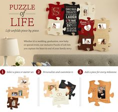 Display Your Memories with the Puzzle of Life at Personal Creations Wedding unique gift http://fave.co/2sxFZ7C