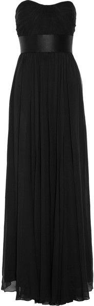 Notte By Marchesa  Strapless Silk-chiffon Gown