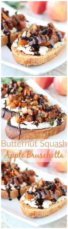 Butternut squash & apples are roasted with fall spices in this delicious vegetarian appetizer recipe, perfect for autumn entertaining! (Apple Recipes)