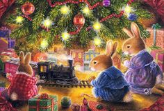 Excited rabbit family runs new toy train under christmas tree,susan wheeler card