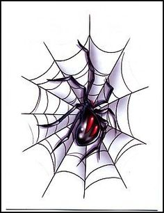 """Spider in Web Temporaray Tattoo by Tattoo Fun. $3.95. This is a colorful Temporary tattoo of a black widow spider with two red stripes on her back in the middle of a large spider web. It measures approx 3"""" long x 2"""" wide."""