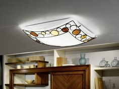 Eglo Lighting / Toleda / Brown & Orange Satinated Square Wall & Ceiling Light