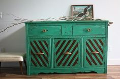 Vintage Art Deco Emerald Green Buffet Dresser by The Turquoise Iris - Eclectic - Buffets And Sideboards - by Etsy Hand Painted Furniture, Vintage Furniture, Furniture Redo, Furniture Ideas, Eclectic Furniture, Green Furniture, Refinished Furniture, Furniture Inspiration, Upcycled Furniture