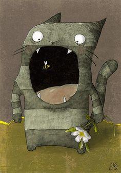 Bee in the Nau. Jenny Epäilys. Collage illustration 2015.