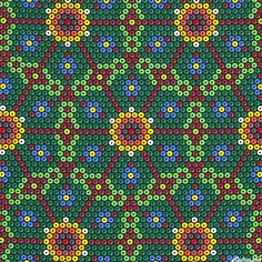 'Peyote Flower' from the 'Beadwork' collection by Mark Hordyszynski for Michael Miller. Peyote Patterns, Beading Patterns, Quilt Patterns, Penny Tile Floors, Hexagon Quilt, Michael Miller, English Paper Piecing, Loom Beading, Lorraine