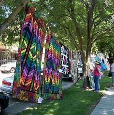 The streets of Historic Downtown Winters are lined with quilts during the Winters Outdoor Quilt Festival held in June. Visit Cloth Carousel for more info.