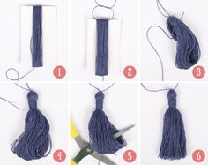 Easy step-by-step on how to make a tassel! See more on School of Handcraft! Easy step-by-step on how to make a tassel! See more on School of Handcraft! Drops Design, How To Make Tassels, Making Tassels, Diy Step By Step, Easy Crochet Projects, Easy Projects, Knitting Projects, Diy Tassel, Tassel Jewelry