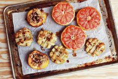 Baked Fruit, tastes like a dessert but much healthier than pie! [includes recipes for Baked Peach Parfait, Baked Grapefruit and Baked Apples] via a Beautiful Mess