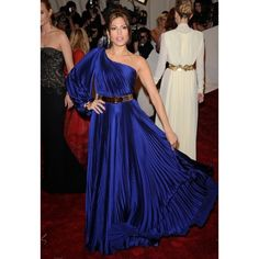 Eva Mendes Blue One Sleeve Sexy Prom Dress 2011 Met Ball Red Carpet