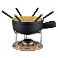 Service à fondue 6 personnes en céramique noir avec plateau bois