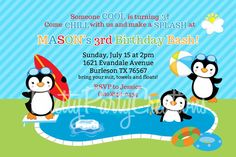 BOY PENGUIN pool party invitation YOU by PrettyPartyCreations, $11.00