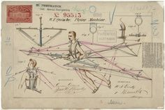 Patent drawing of a flying machine | Retronaut http://www.retronaut.com/2013/10/patent-drawing-flying-machine/