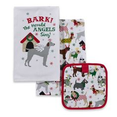 Puppy Christmas 3-Piece Kitchen Linens Set - www.BedBathandBeyond.com
