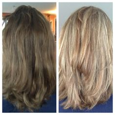 """Hair color before and after. The """"before"""" is what my hair looks like right now. Hmmm..."""