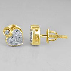 1/10 CT Real Diamond Baby Heart Stud Earrings Mens Girls 14K Gold Fn .925 Silver #Silvergemsjewelry #StudEarrings