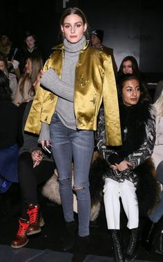 NFW Feb 2016 Olivia Palermo wore a mustard satin jacket for the Noon by Noor show