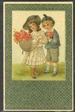 LE179 ENFANTS Gaufrée COUPLE of VICTORIAN CHILDREN ROSES GOLD Embossed