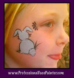 Face Painting a little bunny.   ( A perfect Easter design)
