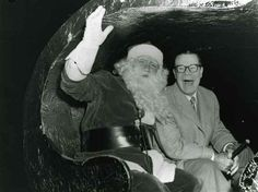 1957 Joe E. Brown With Santa During The Christmas Santa Claus Lane Parade On Hollywood Blvd.