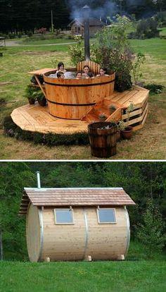 Saunas y bañeras Outdoor Tub, Outdoor Baths, Outdoor Bathrooms, Outdoor Decor, Spa Design, Saunas, Perfect Plants, Outdoor Projects, Outdoor Living