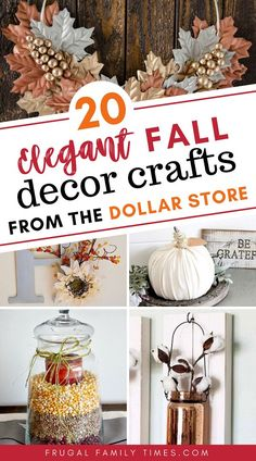 You CAN make elegant simple fall crafts from the dollar store! Gorgeous fall decor can be inexpensive with a little creativity on a budget. This roundup collection includes candle holders painted pumpkins tablescapes beautiful fall wreaths wall art and Dollar Tree Fall, Dollar Tree Crafts, Diy Home Decor On A Budget, Fall Home Decor, Fall Crafts, Decor Crafts, Elegant Fall Decor, Elegant Fall Wreaths, Autumn Decorating